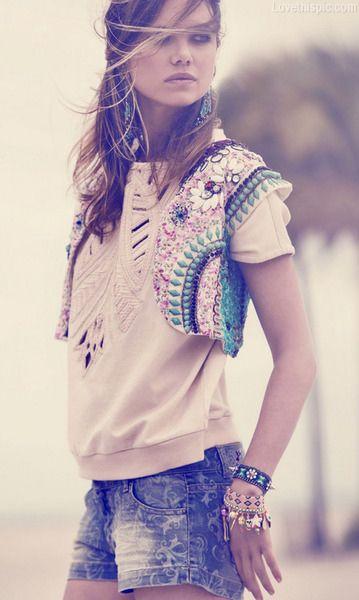 Trendy fashion blue shorts denim vest fashion photography