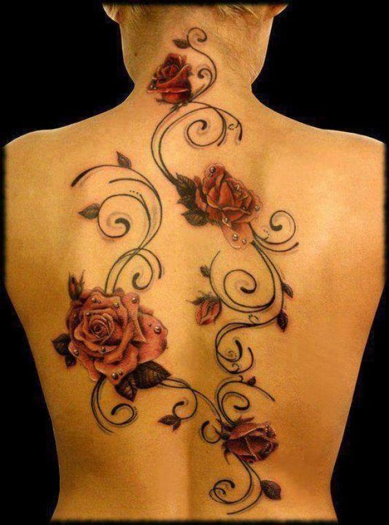 Rosen mit Perlen und Ranke Tattoo #Tattoosonback   Rose