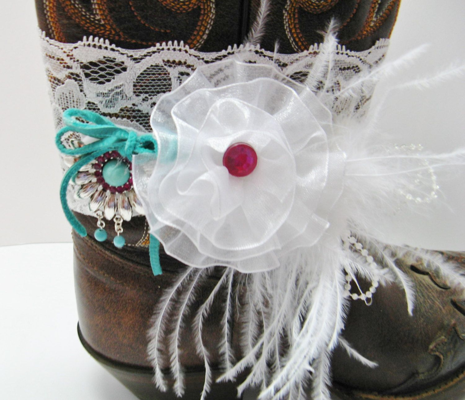 White Chiffon Floral and Beads Bridal Boot Bracelet, Country Wedding Boot Bling, Turquoise and Red Bead Country Bling by Louisefashionjewelry on Etsy