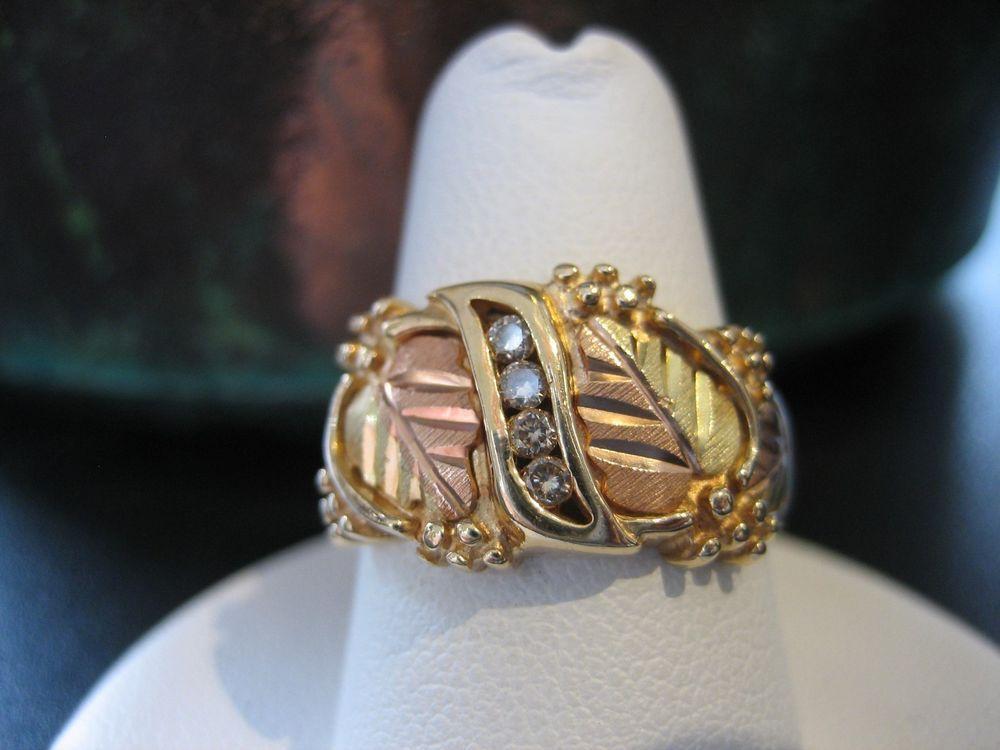 Vintage C Co 10k Black Hills Gold Grape Leaf Diamond Yellow Rose Gold Ring Cco Band Black Hills Gold Jewelry Black Hills Gold Rings Black Gold Jewelry