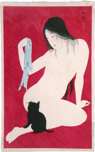 Shotei, Nude Playing with Cat 1927-30