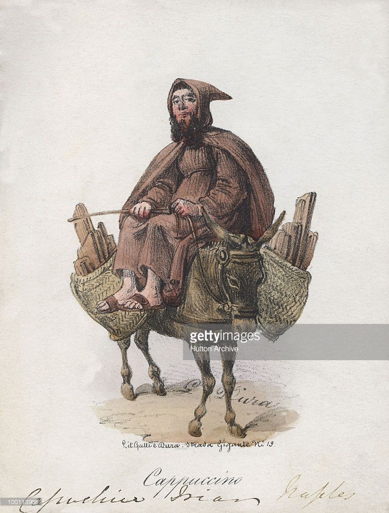 A Franciscan friar of the Capuchin order riding on a donkey, which is also carrying baskets of firewood, circa 1850.
