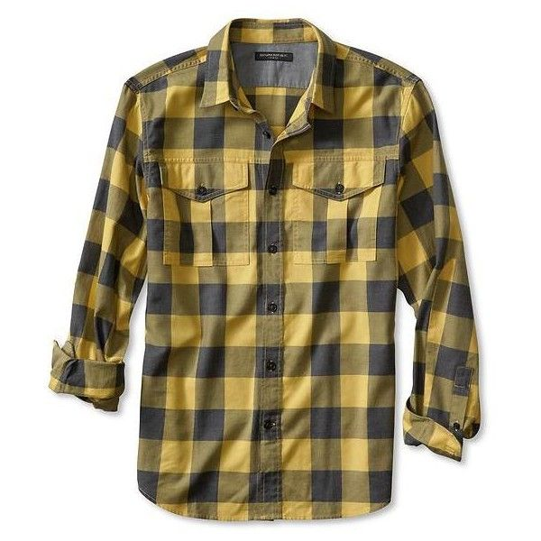 Banana Republic Mens Slim Fit Buffalo Check Flannel Shirt Size XXL -... ($70) ❤ liked on Polyvore featuring mens, men's clothing and men's shirts