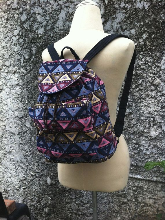 Small Tribal Aztec Woven Backpack Boho Hippie Tapestry Ethnic Bags ... 891c251ed6