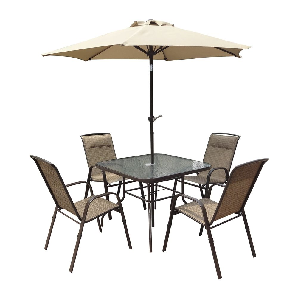 Shop CorLiving  PZT-626-S 5-Piece Patio Dining Set with Tilting Umbrella at Lowe's Canada. Find our selection of outdoor dining sets at the lowest price guaranteed with price match + 10% off.
