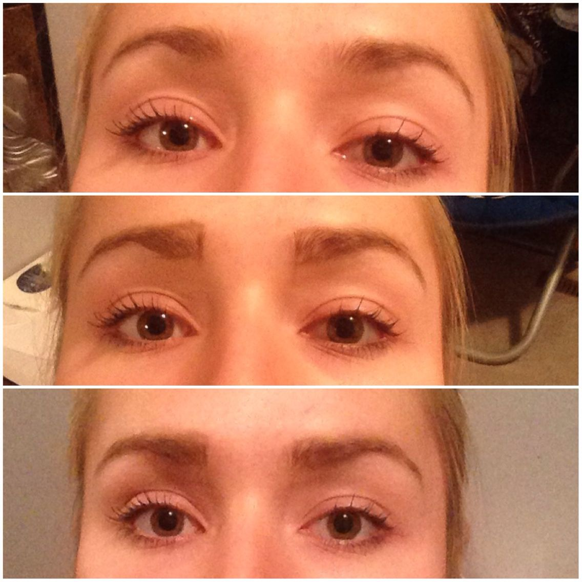 Eyebrow Filling Top Plucked But Unfilled Eyebrows Middle Outlined