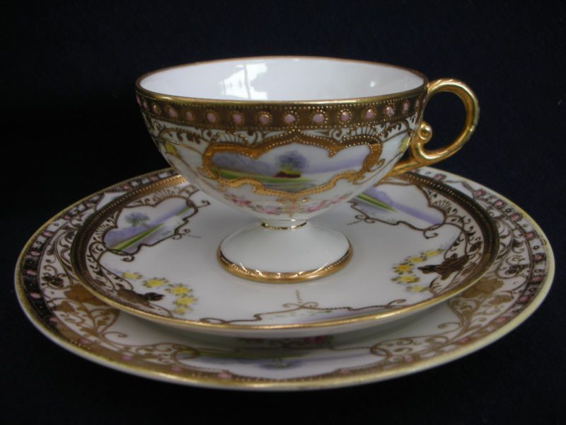 Antique Noritake House By The Lake Trio C1908 Jewelled