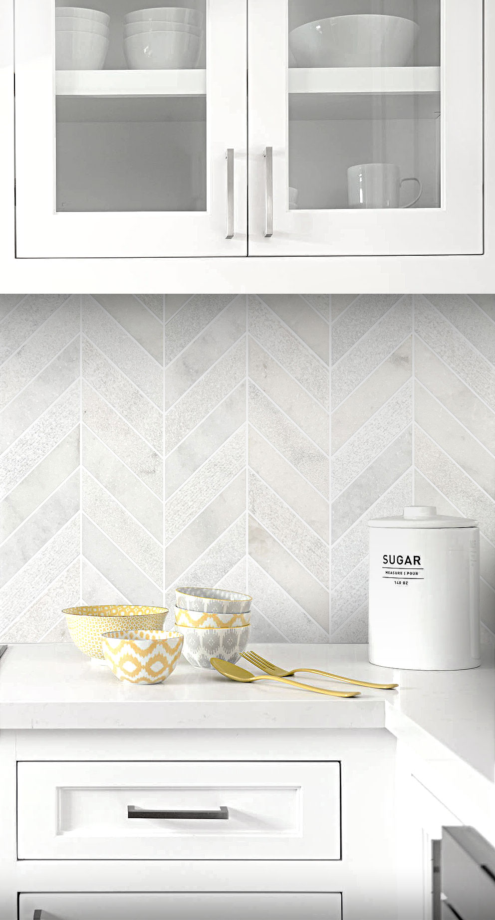 - White Modern Limestone Chevron Backsplash Tile Backsplash.com In