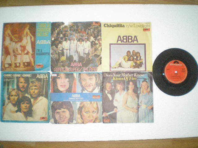 """ABBA Set of 7 singles  OF 7 India Records 7"""" 45 RPM"""