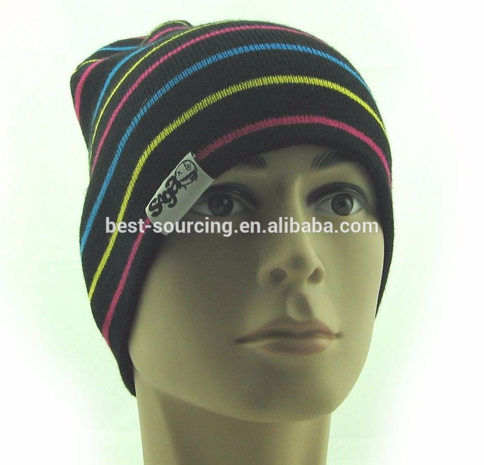 1173c9d6af14c BSCI wholesale custom beanie OEM own embroidery logo 100% acrylic pom pom  Knitted Fashion OEM Beanie Hat Custom Winter Hat