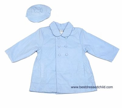 Petit Ami Baby Boys Cord Dress Coat with Hat - Light Blue | Boy's ...