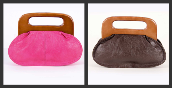 The Sara-Kate Bag. This fun patent purse is the sister to The Chelsea Bag.  It has magnetic wooden handle and inside zipper pocket.    Available in 2 colors: Pink and Brown  $49.50