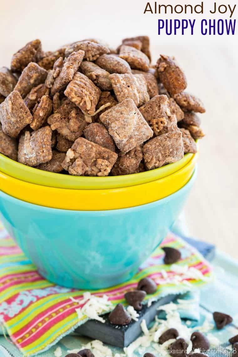 Almond Joy Puppy Chow Recipe Puppy Chow Recipes Sweet Snacks