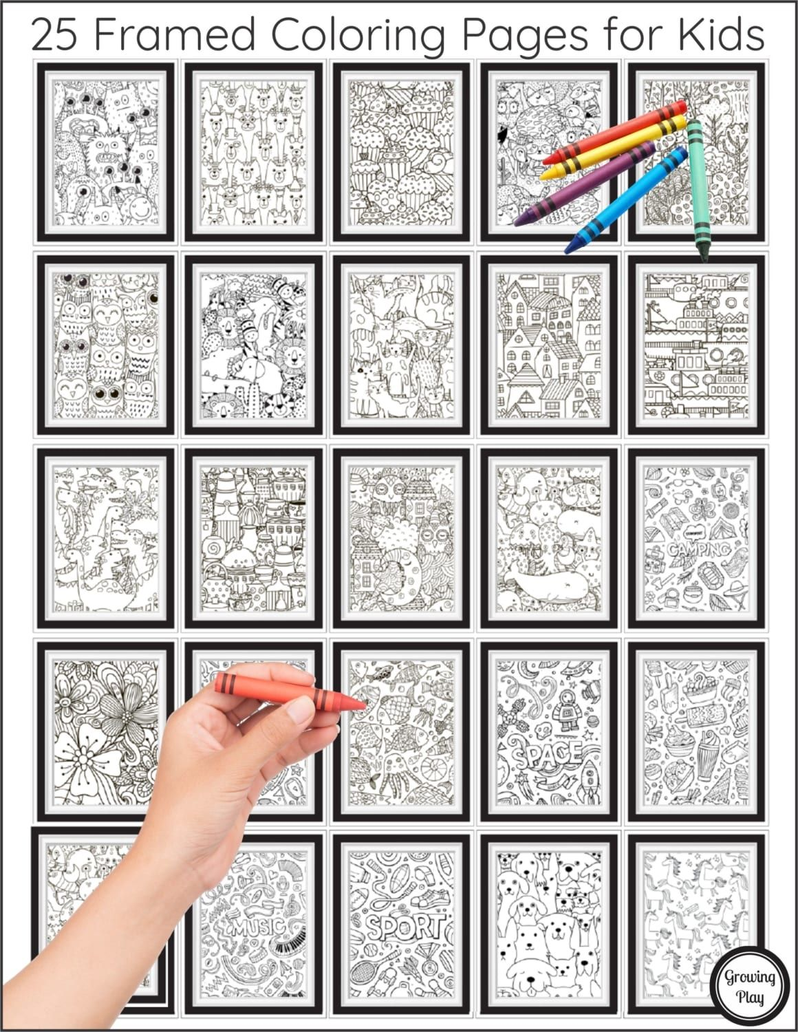 Framed Coloring Pages For Kids Growing Play Coloring Pages For Kids Coloring Pages Color