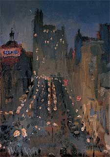 El cuadro  La Gran Vía  (1935), de Nicanor Piñole (Museo Nicanor Piñole, Gijón).