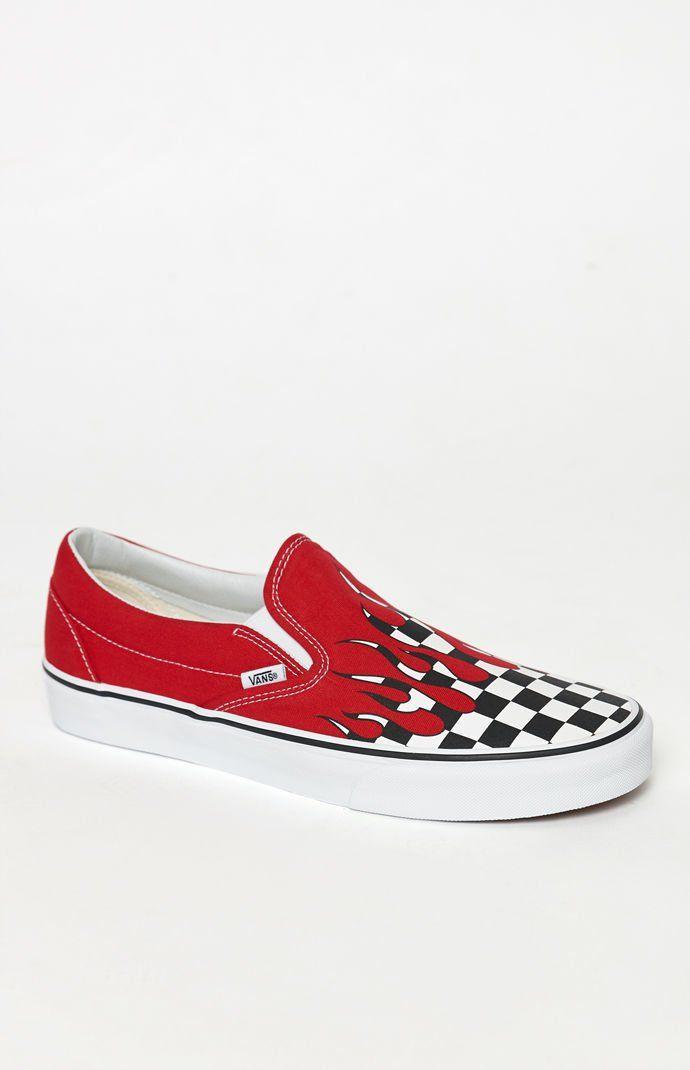 Vans Checker Flame Classic Slip On Shoes | Cool vans shoes