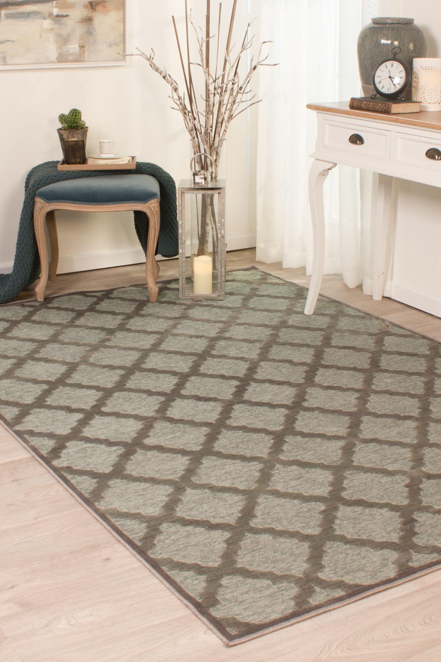 Carpet Centre Gray Green Viscose Machine Made Modern