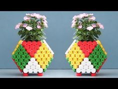 Beautiful Colorful Cube Flower Pots Ideas From Recycled Plas…