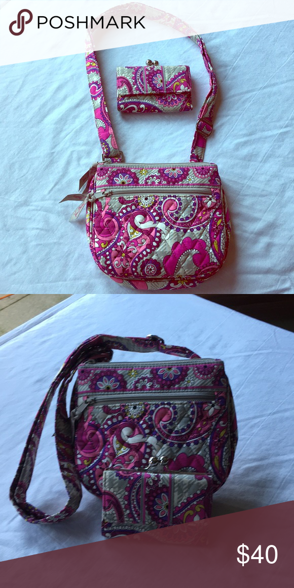 1d35054ed Vera Bradley small crossbody with matching wallet Adorable very gently used  purple/pink paisley small crossbody with matching wallet.