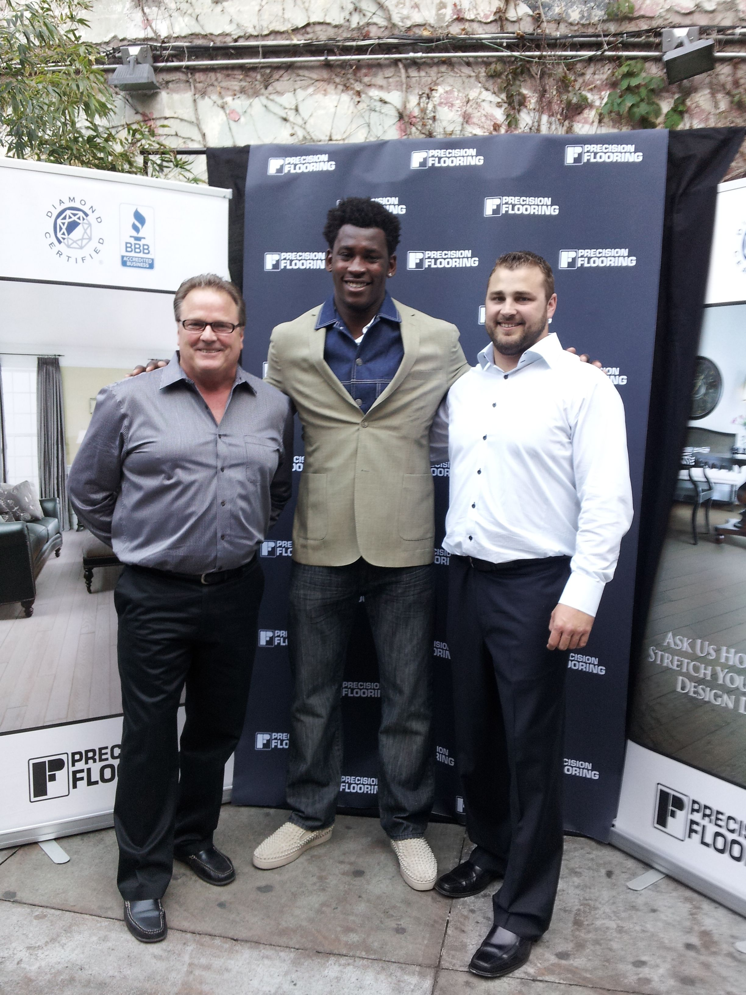Hereu0027s Precision Flooring Owners Don And Donnie Gupton With San Francisco  49er Aldon Smith At Our