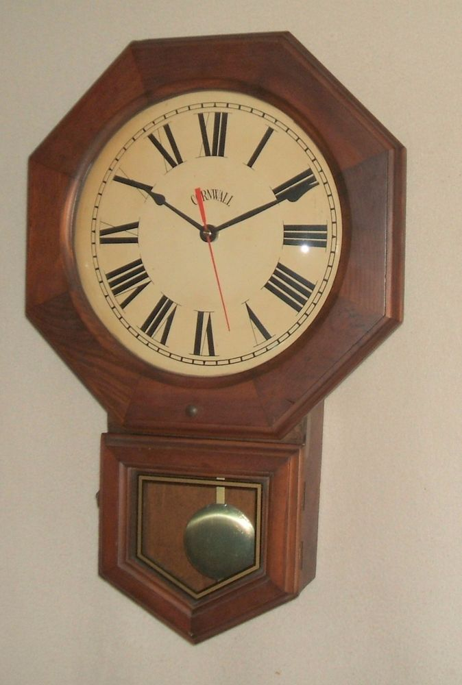 Cornwall Walnut Schoolhouse Wall Clock Clock Wall Clock Antique Wall Clock