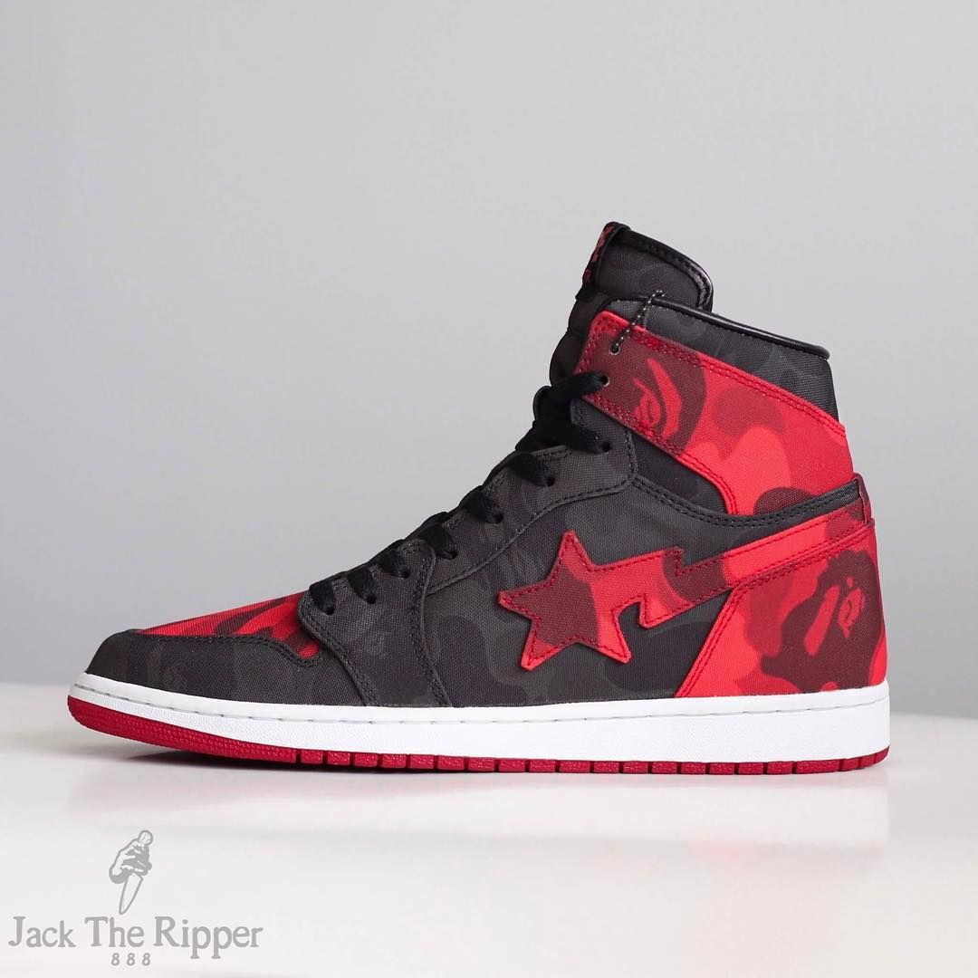 08345fadd4d4fd BAPE x Air Jordan 1 Banned Custom by Jack the Ripper Side