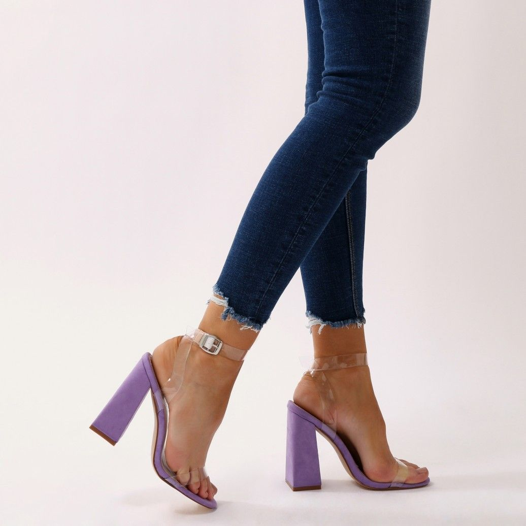 d9b05b92e57 Charlotte Clear Perspex High Heels in Purple Faux Suede