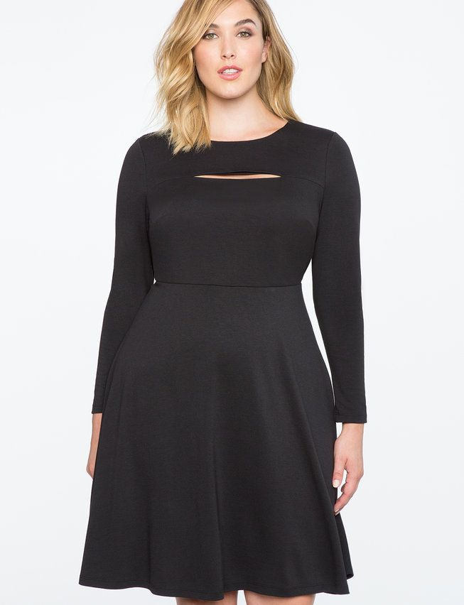 bb45197bdb Edge up your workwear with this slit front fit and flare dress. You ll rock  the perfect balance of classy and cool.  eloquii.com