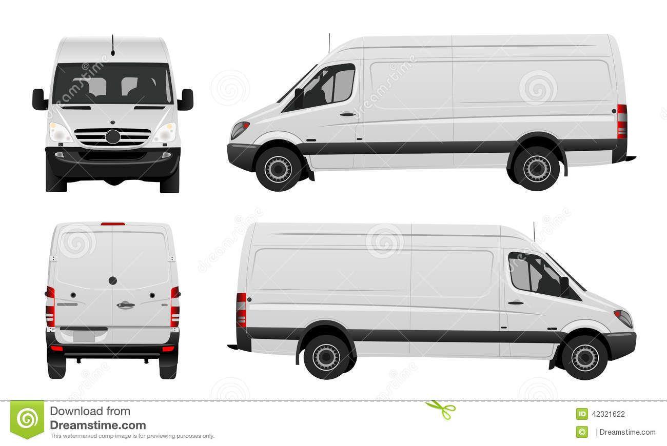 White Van Vector Front Back Side View 42321622 Jpg 1300 870