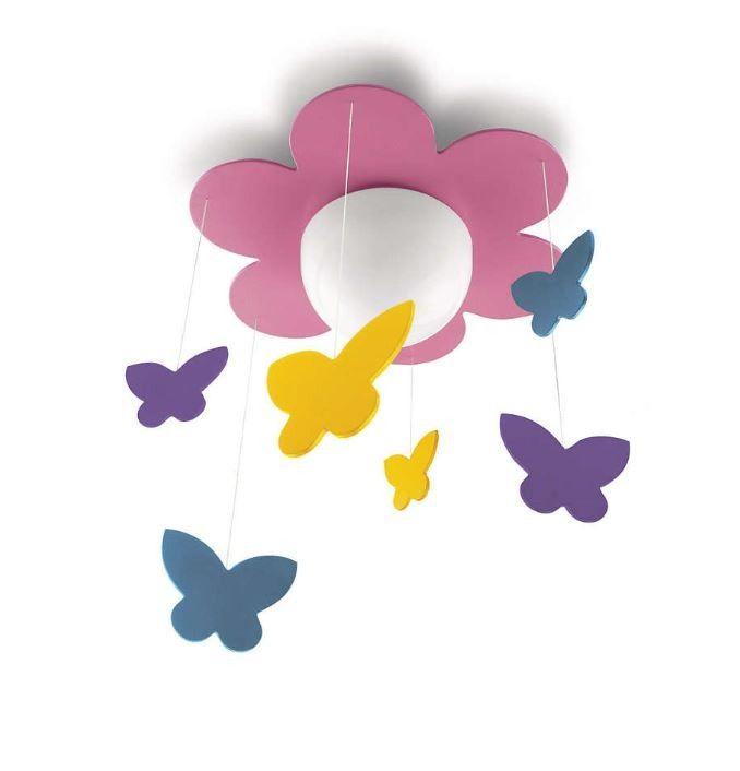 plafn techo flor rosa con mariposas de colores colgando