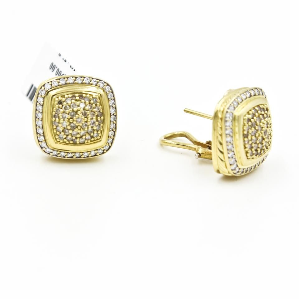 David Yurman Albion Pave Diamond Earrings In 18k Yellow Gold