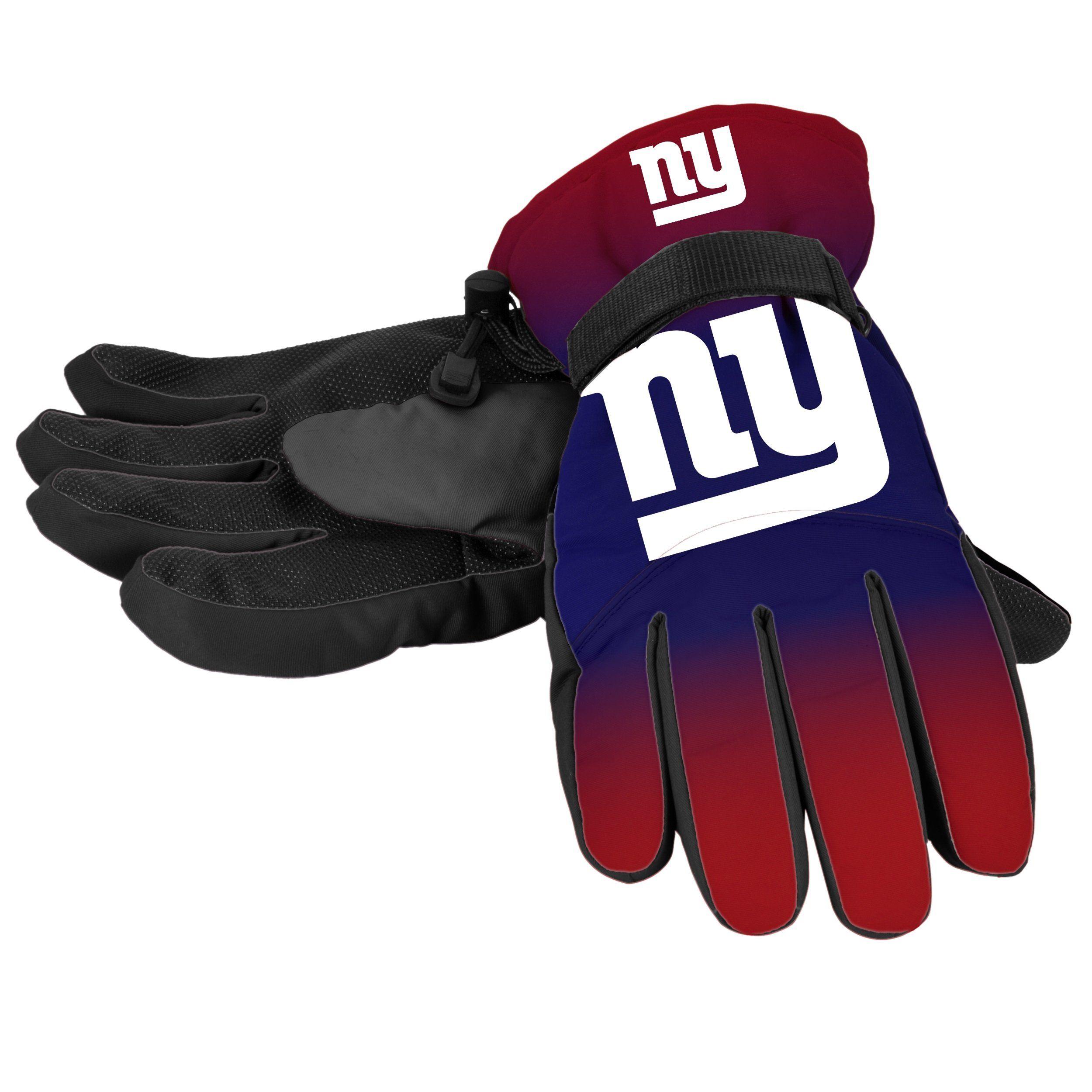NFL Football New York Giants 2 Tone Rubber Dot Grip Winter Utility Work Gloves