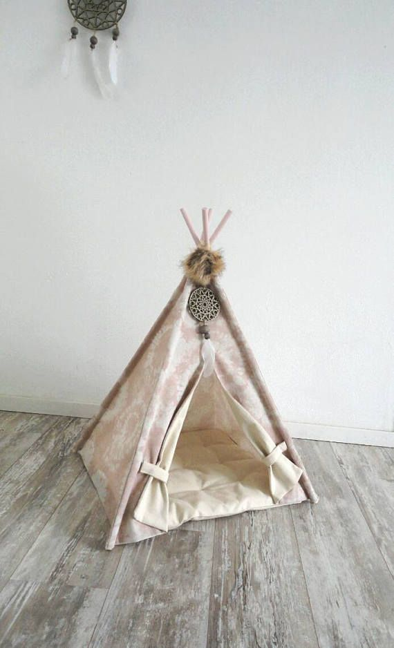 teepee for a dog or cat pet teepee sticks with a pink dip