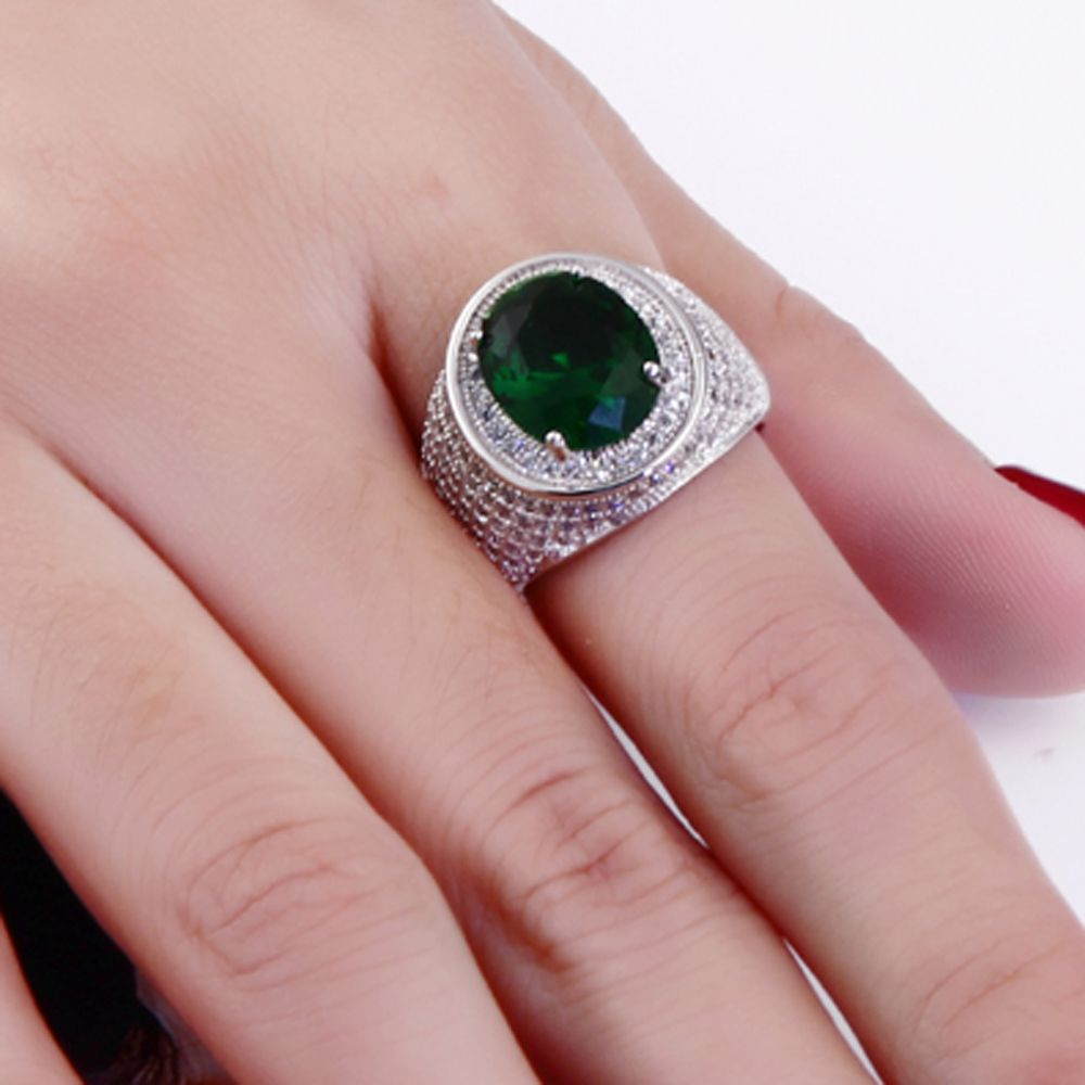 New oval cut big crystal stones cz ring Green and Champagne color ...