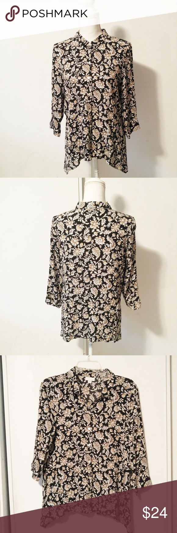 J. Jill black and tan floral button down blouse BRAND: J Jill  SIZE: petite M  FLAW: none  COLOR: black, tan  DESCRIPTION: J jill petite black button down blouse with tan floral print.   Approximate measurements: Bust 19 Waist 18 Sleeve 15 Length 25.5  Use #bishoujo to sort for your size. Please note I do have several pets, but most items will be washed before shipping  #jjill #petite #floral #buttondown J. Jill Tops Button Down Shirts