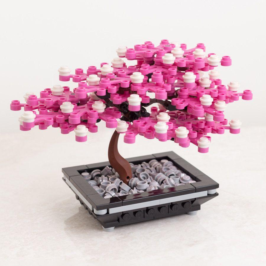 Emperor Bonsai Cherry Blossom Custom Lego Set Parts 246 Dimensions 4 1 Tall X 5 5 Long X 3 5 Deep 105 Mm X 140 Mm Lego Design Lego Tree Lego Craft