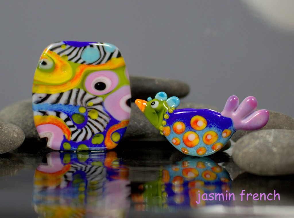 °° TRIPPY BIRD °° focal set  lampwork beads by jasmin french