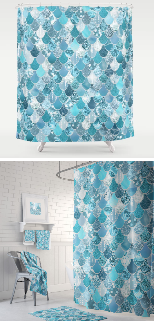 Turquoise Aqua Mermaid Shower Curtain With Matching Towels And Bath Mats Available Mermaid Shower Curtain Ocean