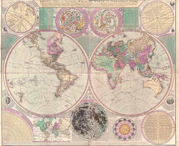 World map poster World map print World map art Vintage world map - new antique world map images