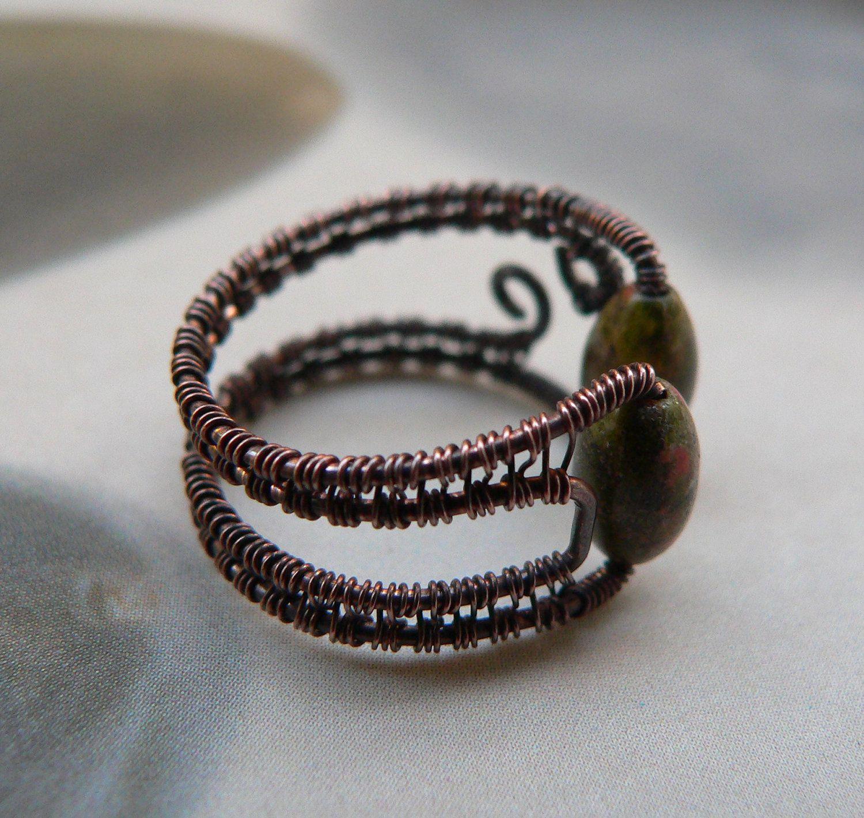 Copper Wire Jewelry | Unakite Copper Wire-Wrapped Ring, handmade ...