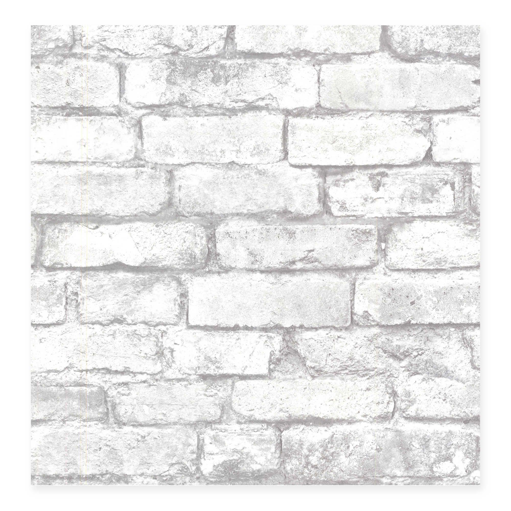 Beacon House Oxford Brickwork Wallpaper in Light Grey