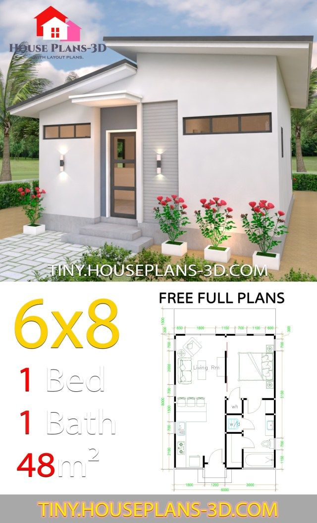 Studio House Plans 6x8 Shed Roof Tiny House Plans House Plans Cottage House Plans House Layouts