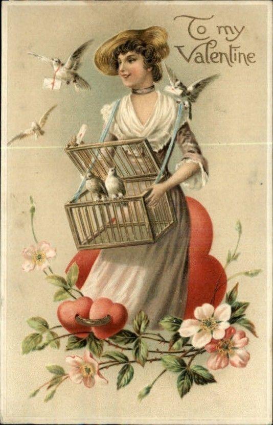 Valentine/'s Day Fabric Block Vintage Postcard on Fabric Victorian My Valentine