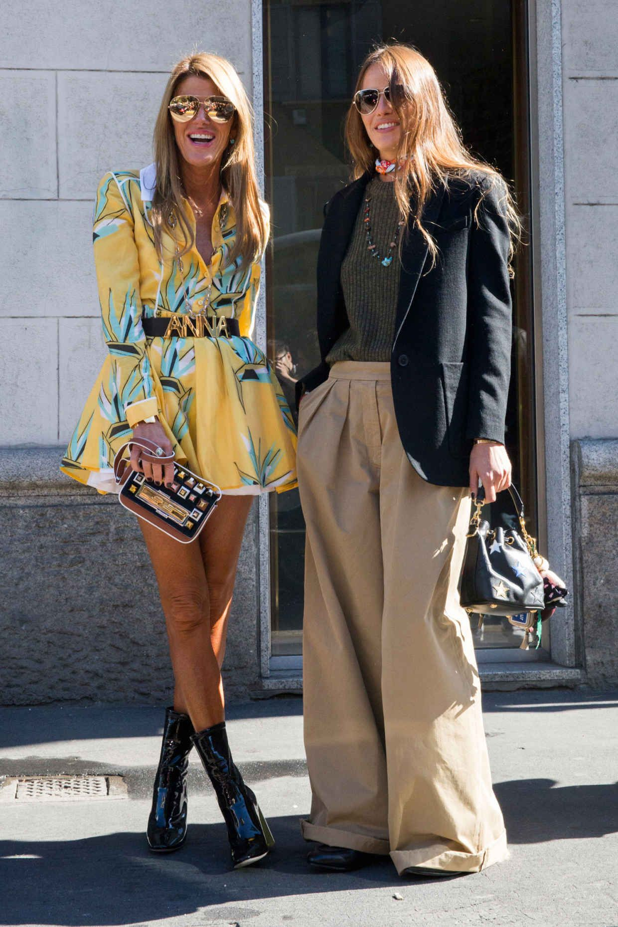 Anna dello Russo in Fendi and Carlota Oddi. Photo: Imaxtree