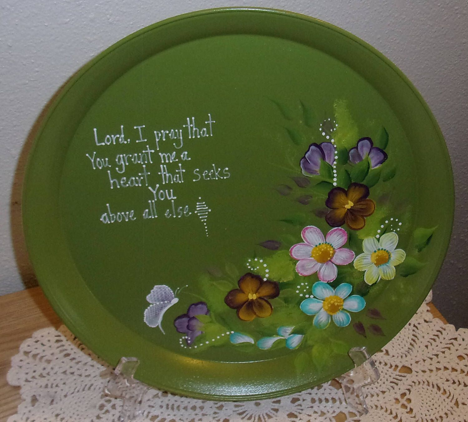 Hand Painted-Decorative Plate-Platter-Charger-Tray-Butterfly-Inspirational- & Hand Painted-Decorative Plate-Platter-Charger-Tray-Butterfly ...