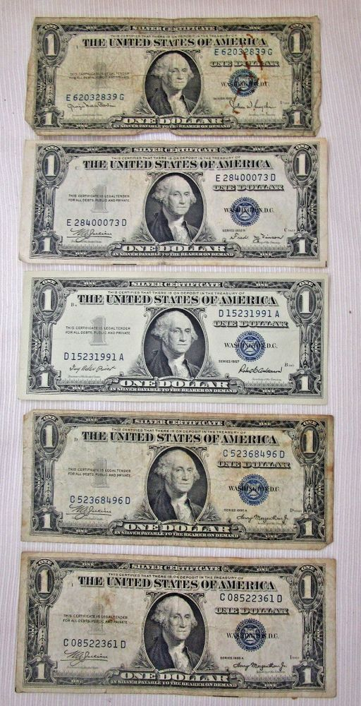 Details About Lot Of 3 Silver Certificate Blue Seal Dollar Bills
