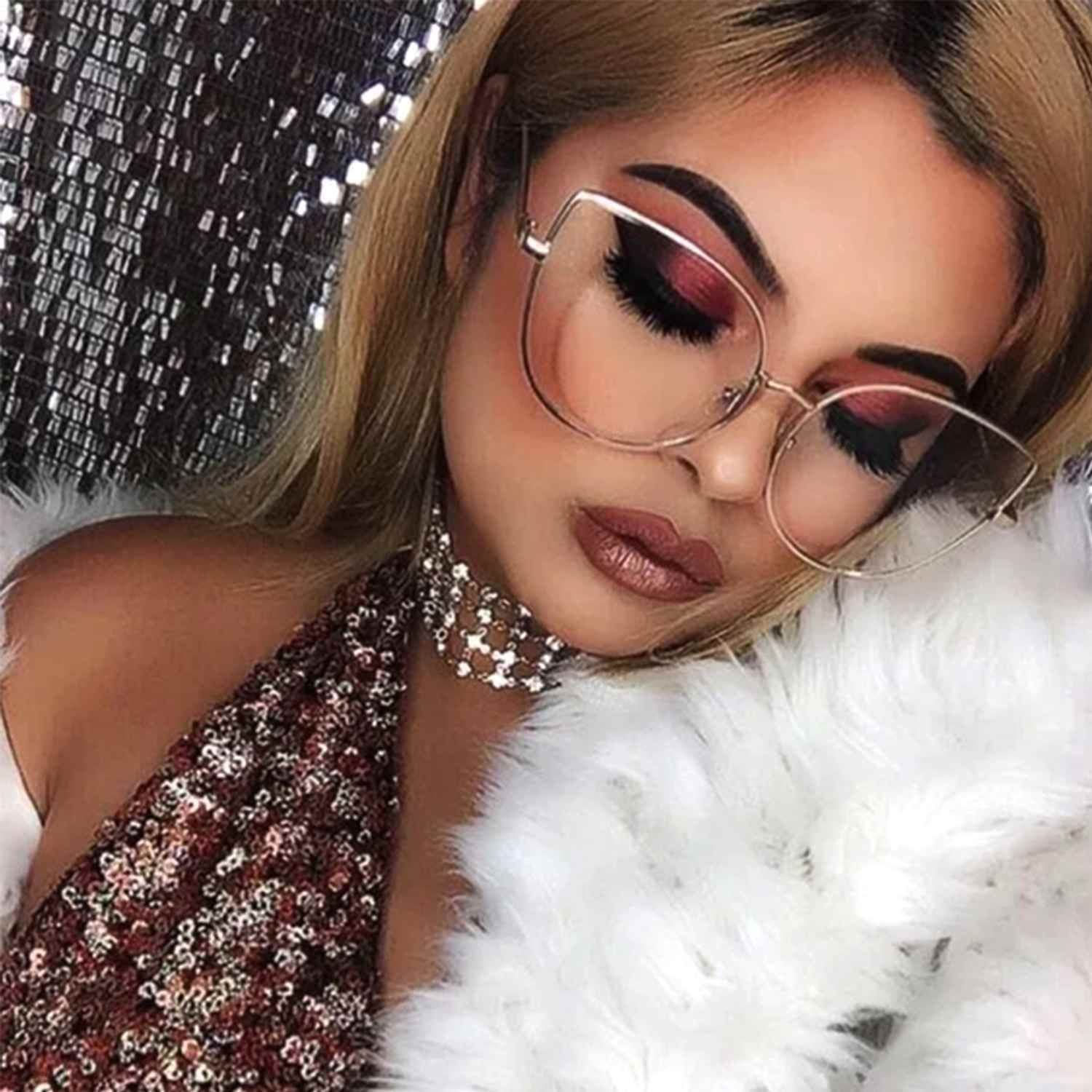 34bb4b6cacbe Designer Inspired Clear Lens Cat Eye Eyeglasses Large Metal Frame Women  Fashion in Clothing, Shoes & Accessories, Women's Accessories, Sunglasses &  Fashion ...