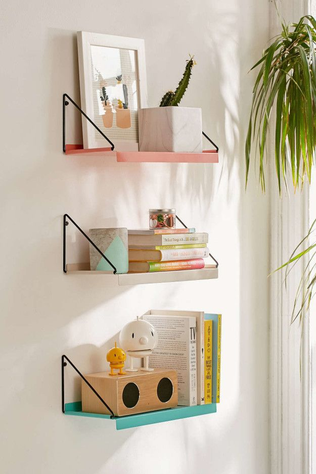 Put Some Of Your Fave Tomes On Display With This Colorful Wall Shelf That Comes With Hanging Brackets With Images Modern Wall Shelf Wall Decor Bedroom Bedroom Wall