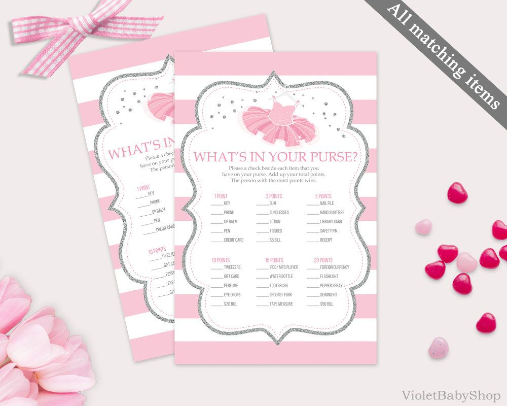 What Is In Your Purse Game Template Printable Silver And Pink