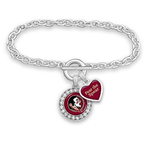 Florida State Seminoles Logo and Heart Shaped Charm Brace…